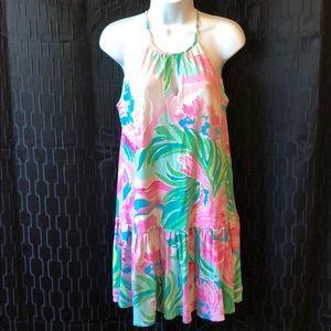 Lilly Pulitzer halter dress pink green cutaway S
